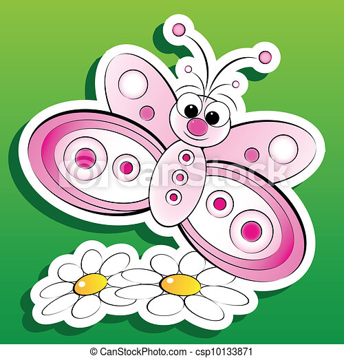 Vectors Illustration Of Butterfly And Flowers Kid