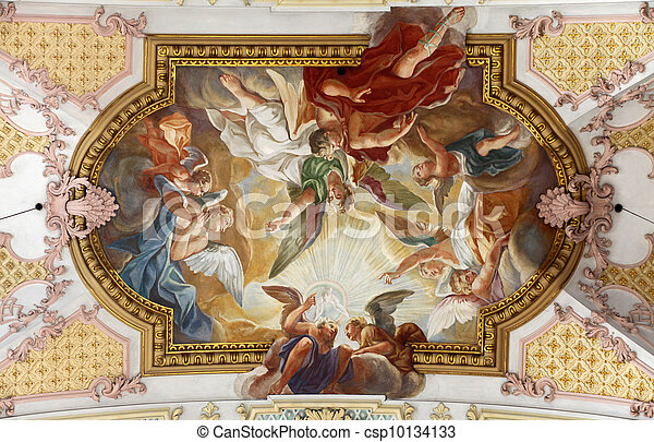 Fresco Ceiling at St. Peter's Church in Munich, Germany - csp10134133