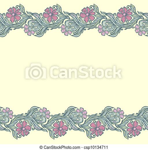 Seamless floral edging pattern - csp10134711