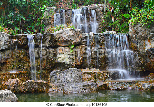 Tropical waterfall in forest  - csp10136105