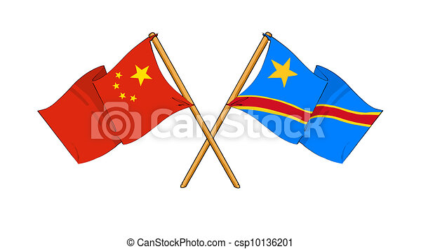 cartoon-like drawings of flags showing friendship between China and Democratic Republic of the Congo - csp10136201