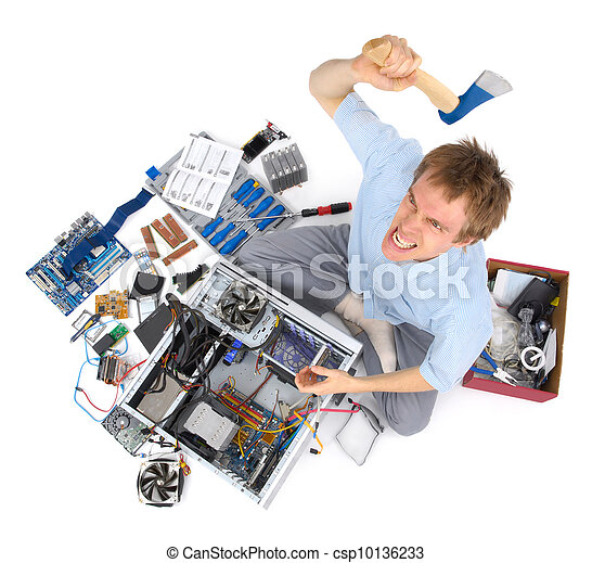 Computer being destroyed by annoyed madman - csp10136233