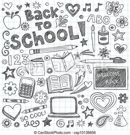 Back to School Sketchy Doodles Set - csp10136656