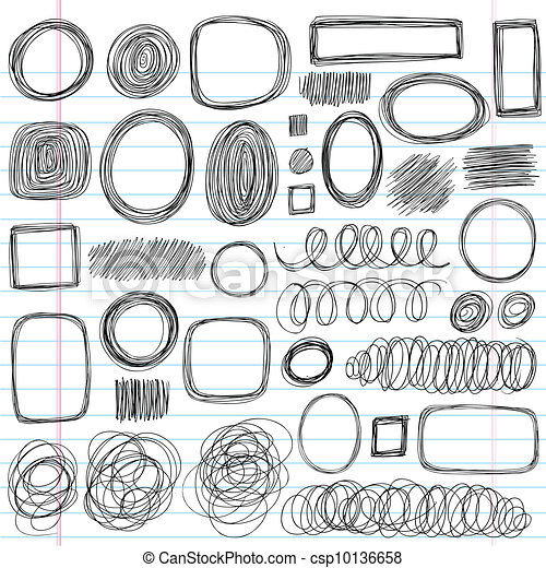 Scribble Shapes Sketchy Doodles Set - csp10136658