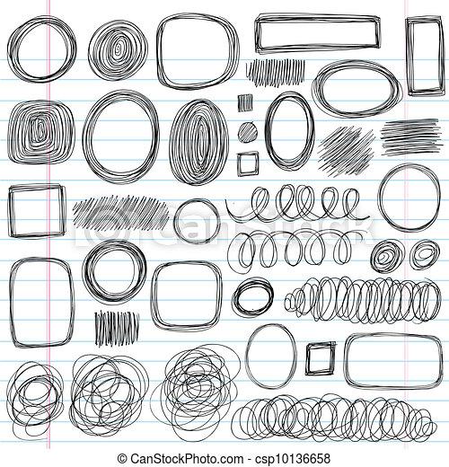 Scribble Shapes Sketchy Doodles Set - csp10136658