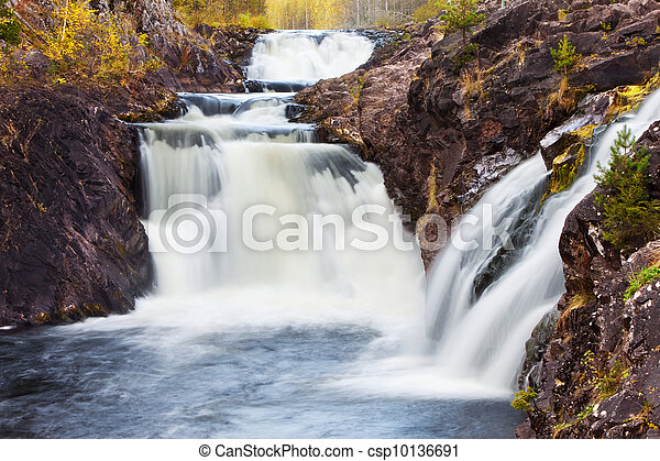 mountain waterfall. fast stream water. autumn landscape - csp10136691