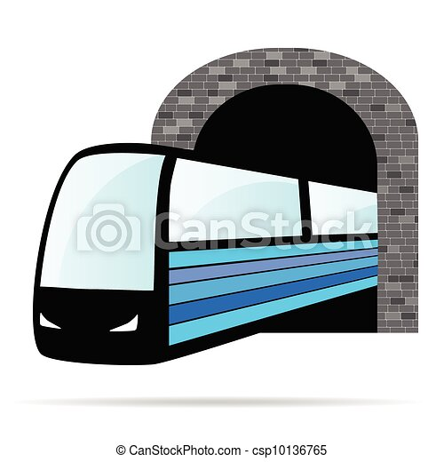 train from the tunnel vector illustration - csp10136765