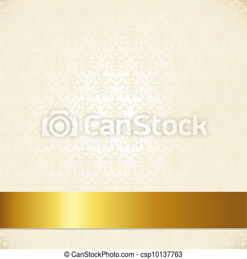 Beige Damask Background - csp10137763