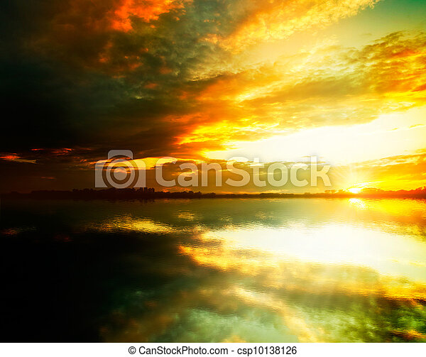 Beauty sunset on the lake. Abstract natural backgrounds - csp10138126