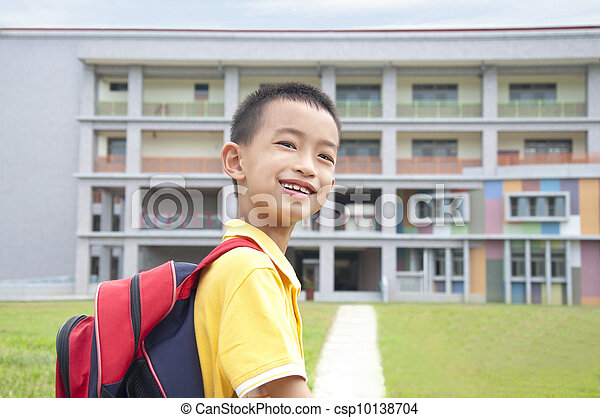Asian kid happy to go to school - csp10138704