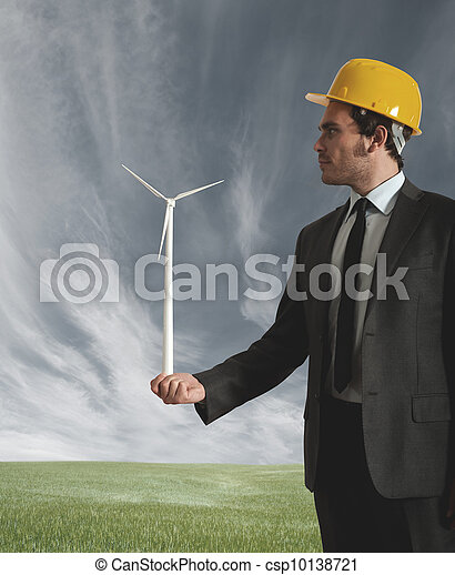Businessman and wind turbine - csp10138721