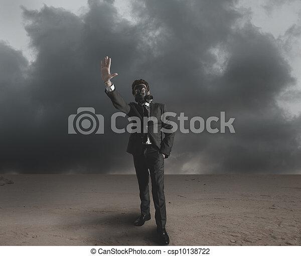 Businessman indicates radiation - csp10138722