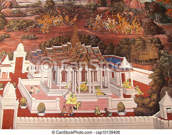 Stock Foto - Wand, Kunst, gemälde, Beschaffenheit, Tempel ...