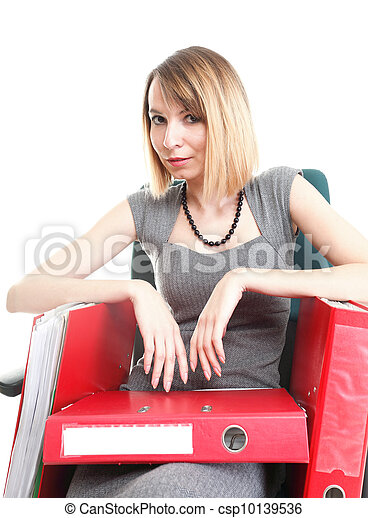woman Overworked businesswoman holding plenty of documents isolated white red folder timeer time - csp10139536