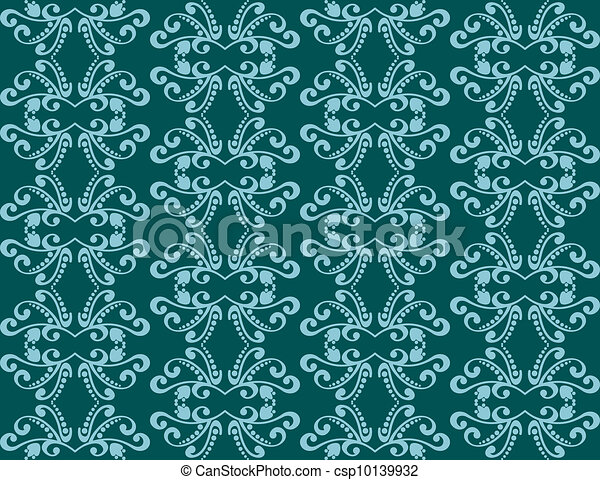 Abstract seamless background with blue adornments - csp10139932