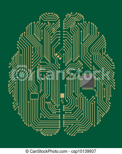 Motherboard brain with computer chip - csp10139937