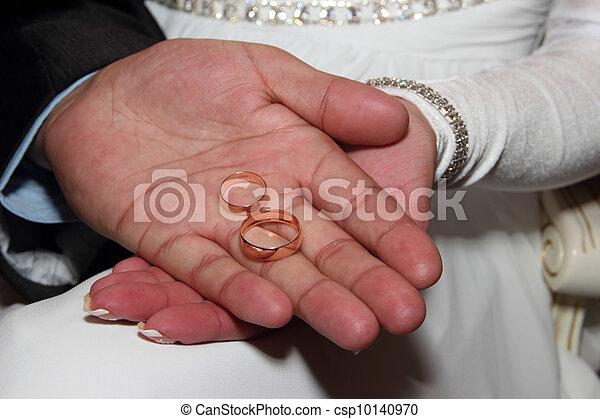 Image de mariage, Anneaux, main - mariage, Anneaux, dans, mains, de ...
