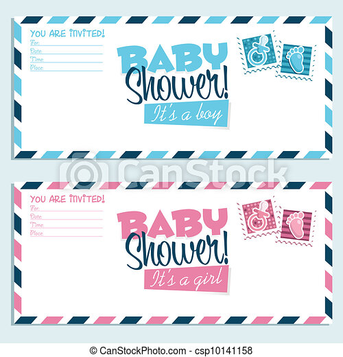 Clipart Vector of Baby Shower Invitations - Baby shower invitation ...