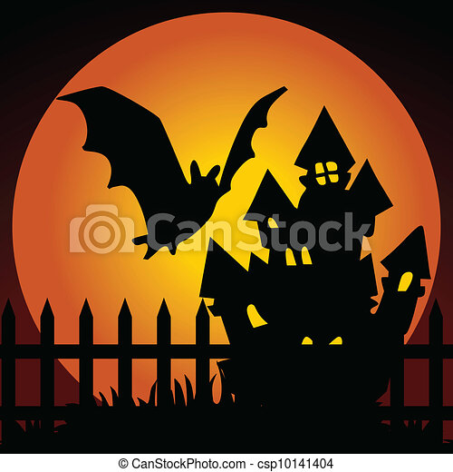 Halloween night haunted house with  - csp10141404
