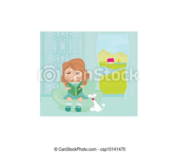 Teen girl Reading A Book  - csp10141470
