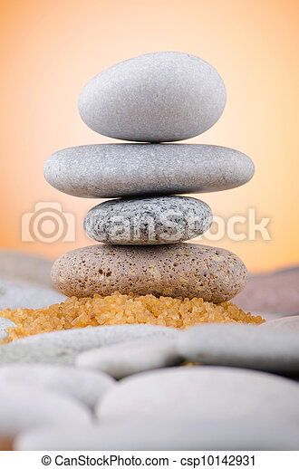 Balanced pebbles with colour background - csp10142931