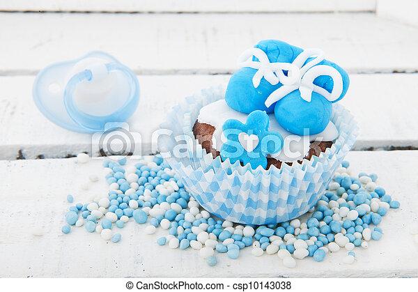 Stock foto 39 s van geboren jongen baby cupcake blauwe cupcake met baby csp10143038 - Foto baby jongen ...