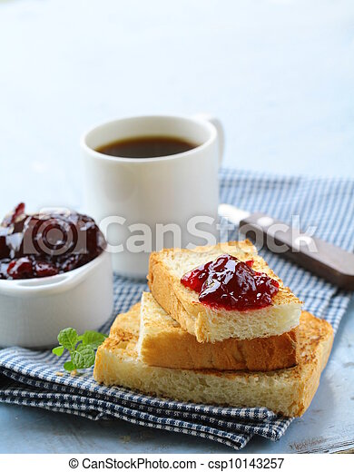 breakfast with toast and cherry jam - csp10143257