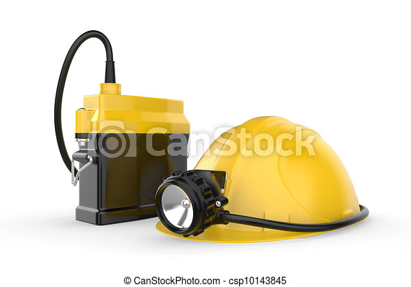Miners helmet with lamp on a white background - csp10143845