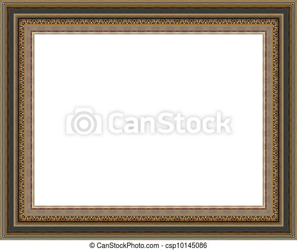 Beautiful antique wooden decorative grungy photo frame with golden pattern