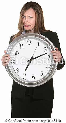 Annoyed Businesswoman with Clock - csp10145110