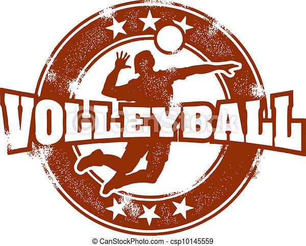 Vintage Volleyball Sport Stamp - csp10145559