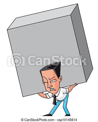 Businessman raising an  enormous weight - csp10145614