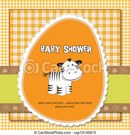 childish greeting card with zebra - csp10145810