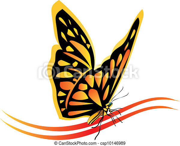 Monarch butterfly logo vector - csp10146989