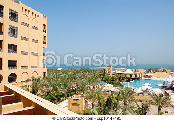 Recreation area of luxury hotel and swimming pool, Ras Al Khaimah, UAE - csp10147495