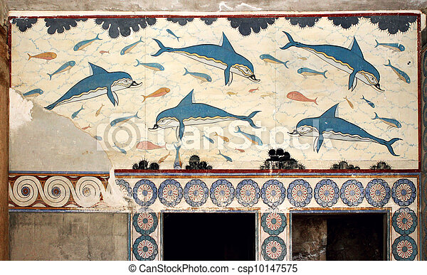 Plaatje van minoan dolfijnen mural schilderij fresco for Dolphin mural knossos