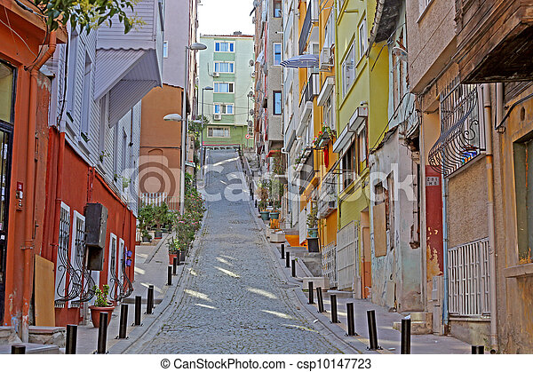 Old streets without people , Istanbul. Turkey, taken early morning - csp10147723