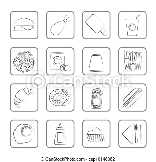 fast food and drink icons - csp10148082