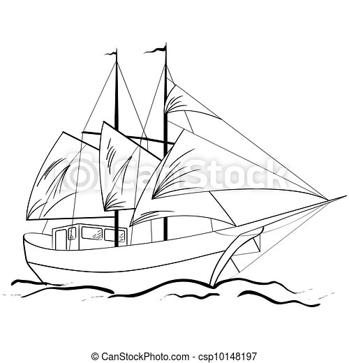 Sketch of nautical sailing vessel - csp10148197