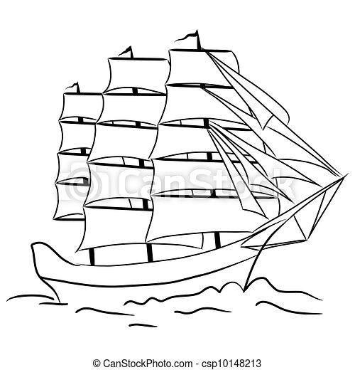 Sketch of nautical sailing vessel - csp10148213