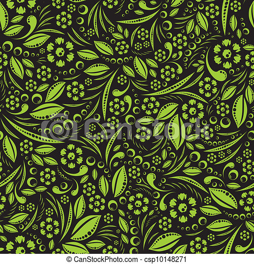Seamless vector wallpaper. Green ve - csp10148271