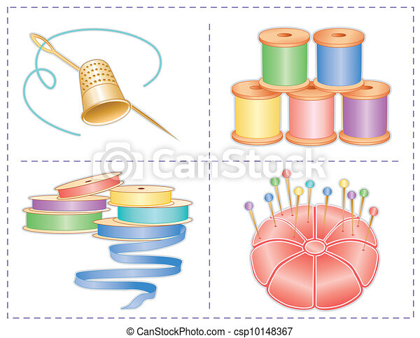 Sewing Accessories, Pastels  - csp10148367