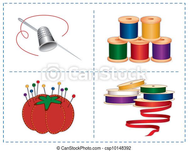 Sewing Accessories, Jewel colors - csp10148392