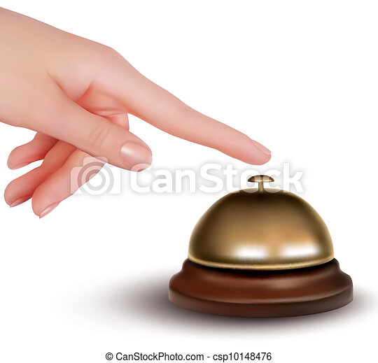 Hand ringing the bell to call  - csp10148476