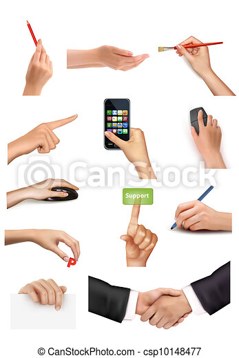 Set of hands holding objects - csp10148477