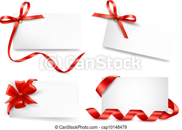 Set of card note with red gift bows - csp10148479