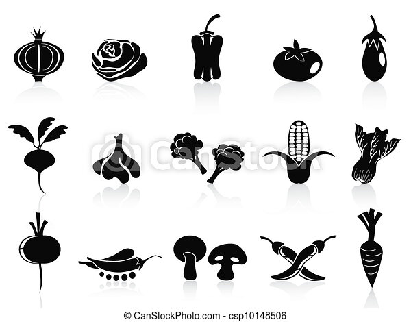 black vegetable icons set - csp10148506