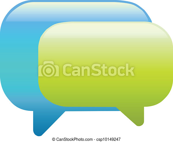 Blue and green colour speech bubbles - csp10149247