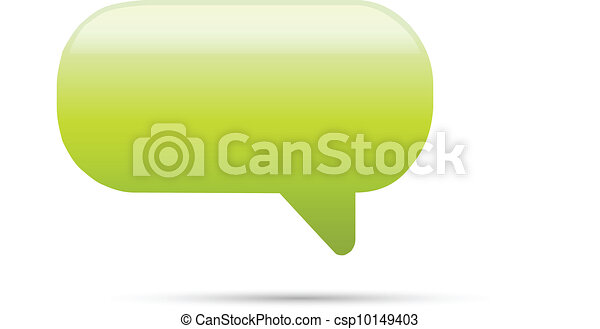 Green glassy empty speech bubble web button - csp10149403
