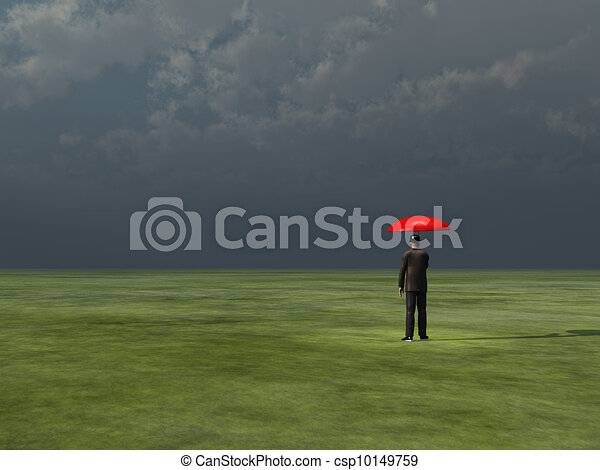 Man with red umbrella under gathering storm - csp10149759